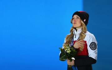medal, freestyle, 2014, olympic champion, olympic, justine dufour-lapointe, justine, dufour-lapointe, canadian olympic team, emotional, medal ceremony, equipe olympique canadienne, champion, mogul, sochi, canadian