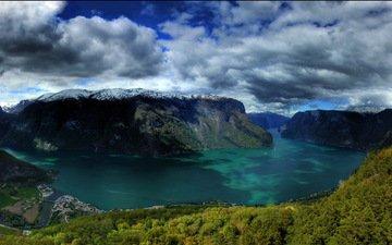 облака, озеро, снег, природа, лес, тучи, норвегия, muntains, скалы горы, городок., норвегии