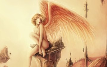 art, girl, wings, roof, sitting, naked