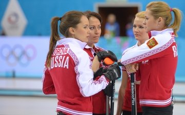 russia, curling, sochi 2014, the xxii winter olympic games, women's team, alexandra saitova, anna sidorova, ekaterina galkina, margarita fomina