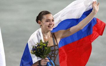 flowers, joy, russia, flag, bouquet, figure skating, sochi 2014, sochi 2014 olympic winter games, the xxii winter olympic games, skater, champion, adelina sotnikova, olympic