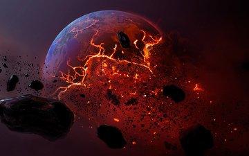 планета, метеорит, мертвая планета, горящая земля
