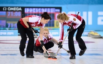 girls, russia, curling, sochi 2014, sochi 2014 olympic winter games, the xxii winter olympic games, alexandra saitova, ekaterina galkina, margarita fomina