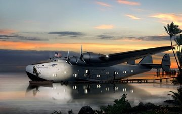 art, water, bay, american, seaplane