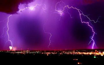 молния, ночной город, сиреневое небо