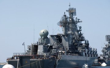 moscow, kerch, large, anti-submarine ship, the black sea fleet, navy, guards, missile cruiser, raid