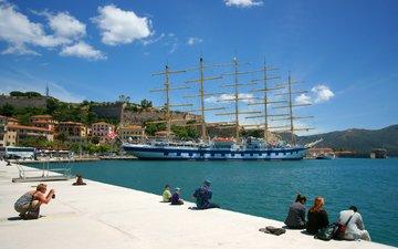 парусник, набережная, италия, порт, гавань, royal clipper, elba island, портоферрайо, тоскана, остров эльба