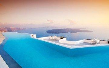вечер, горы, море, острова, бассейн, отдых, греция, терраса, отель, кресла, санторини, столики, закат., санторин, басеин