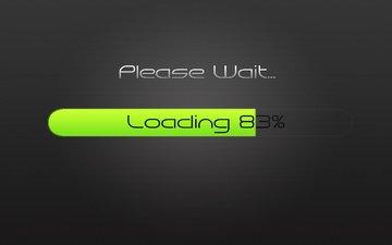 the inscription, words, minimalism, text, download, loading, please wait, 83%, please, wait