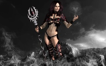 mountains, girl, smoke, skull, staff, magic, sorceress