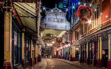 свет, дорога, ночь, огни, вечер, елка, зима, великобритания, лондон, город, дома, улица, англия, гирлянды, праздники, здания, магазины, great britain, рождественская