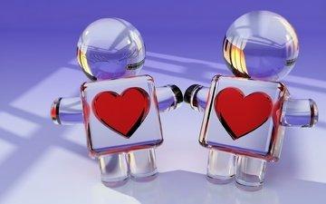 отражение, сердце, человечки, стекло, рендер