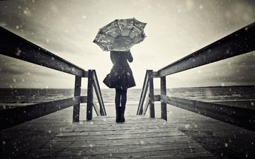 snow, girl, umbrella, the wind, bw