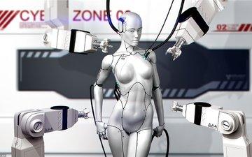 арт, провода, девушка, робот, андроид, киборг, rolf bertz
