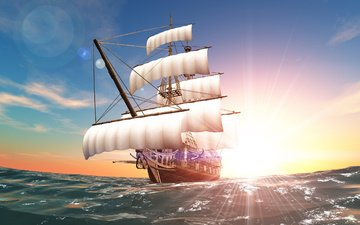 солнце, море, корабль, плавание, паруса, курс