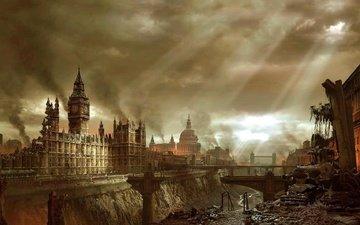 лондон, город, здания, апокалипсис, катастрофа, биг бен