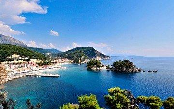 море, город, побережье, острова, греция