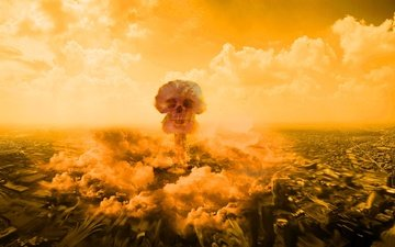 clouds, the city, death, skull, the explosion, destruction
