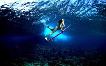 девушка, доска, спорт, серфинг