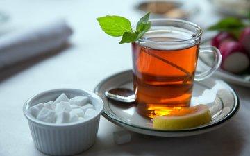мята, лимон, чай, сахар