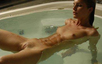 девушка, ванна, обнаженная