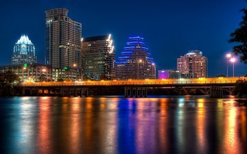 ночь, огни, город, сша, техас, остин, ночной, ноч, city of color