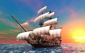 корабль, парусник, океан, бриг, мачты, паруса, бушприт
