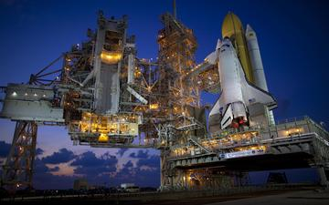 twilight, spaceport, launch complex, shuttle discovery