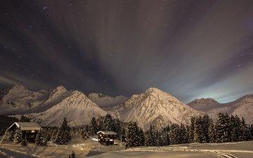 небо, деревья, горы, снег, зима, пейзаж, звезды, дома, ели