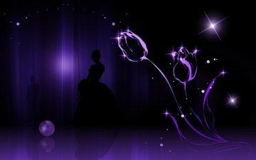цветы, девушка, парень, силуэты, тюльпаны