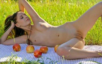 природа, девушка, лето, позирует, киса, бритая, супергубы