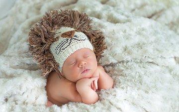 ребенок, шапка, одеяло, лев, малыш, младенец, вязанная