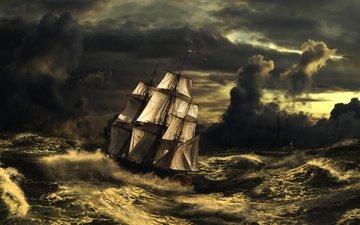 art, wave, sea, storm, bushouse