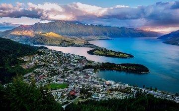 горы, новая зеландия, бухта, куинстаун, озеро уакатипу