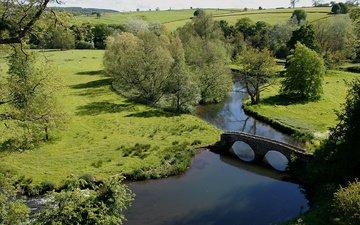 вода, река, лето, мост, англия