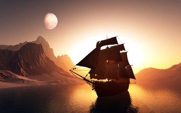 корабль, графика, паруса