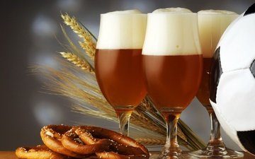 wheat, spikelets, glasses, beer, foam