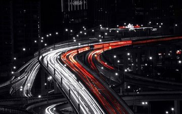 шанхай, трафик, мостики, мегаполисов, длинная выдержка, cityscapes, light trails, traffic lights, night shot, selective coloring, ноч