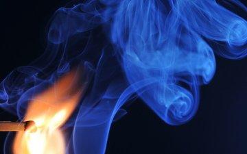 макро, огонь, дым, спичка