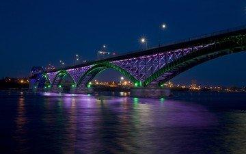 ночь, огни, мост, город, залив, пис-бридж