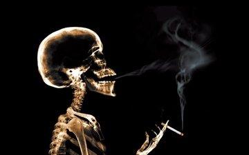 дым, рентген, сигарета, скелет