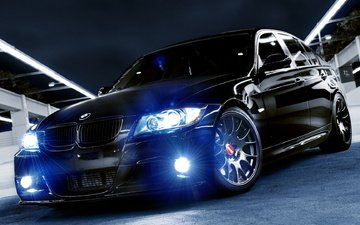 свет, авто, черная, фары, бмв