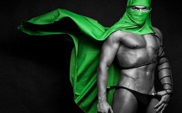 зелёный, парень, фигура, платок, атлет, brawny male, green veil