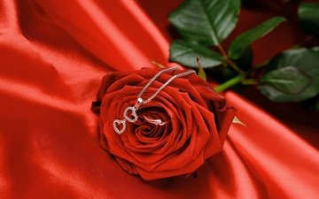 rose and pendant with a heart