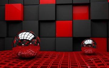 шары, отражение, фон, черный, красный, кубики, ткань, клетка, 3д