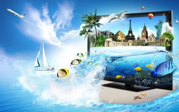 самолет, море, рыбы, пальмы, монитор, пирамида, яхта, чайки, эйфелева башня, статуя свободы, биг бен, тадж махал