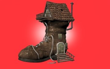 house, red background, art 3d, boots