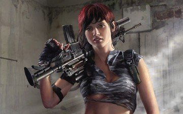 рисунок, девушка, оружие, фэнтези, солдат