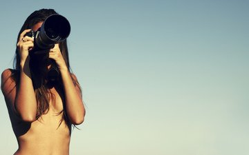 girl, background, the camera