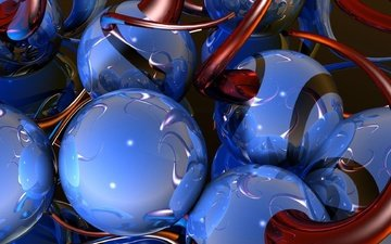 шары, отражение, синий, форма, красный, переплетение, объем, 3д